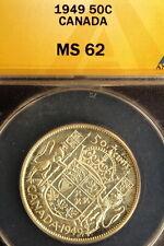 1949 ANACS MS62 Canada KM-45 Fifty Cents E0942