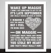 Rod Stewart Maggie May Love Song Lyric Print Poster Wedding Dance Valentine Gift