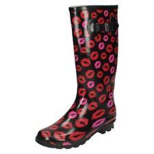 De Mujer Negro rojo y rosa labios diseño wellingtons X1173