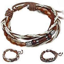 braunes Lederarmband ECHT LEDER Armband Herren Männer Flechtarmband Holz Perlen