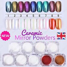 CERAMIC Nails Mirror SHELL Powder Shiny PEARL White Chrome Nail Pigment Colors