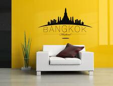 Wall Vinyl Sticker Skyline Horizon City View Bangkok Thailand Country Art F1757