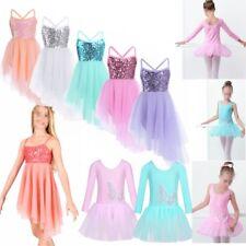 Girls Leotard Ballet Dress Sequins Gymnastics Unitards Skating Dancewear Costume
