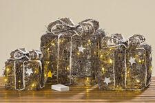 LED-Deko-Geschenk braun weiß Rattan natur warmweiß batteriebetrieben H 20 -30 cm