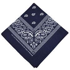 """100% Cotton Paisley Bandanas Double Sided """"Navy Blue"""" Handkerchief Headscarf"""