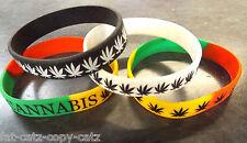 Marijuana Weed GANJA Foglia Rasta Hippy SEGNO Unisex in gomma da polso Bracciale BAND UK