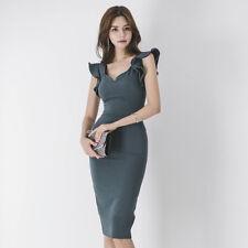 Élégant vestido traje corto de tubo gris cómodo rodilla slim ajustado 3235