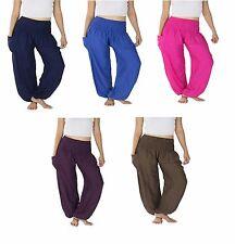 Plain Thai Harem Trousers - Boho Festival Hippy Smock Waist Yoga Pants Rayon