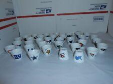 1 NFL FOOTBALL MINI PORCELAIN SHOT GLASS/CUP YOU CHOOSE TEAM + 5 BONUS CARDS