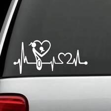 K1121 Mom Loves Daughter Mother Heartbeat Lifeline Decal Sticker Laptop Ivory