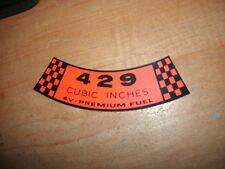 1969 FORD GALAXIE LTD XL CUSTOM 500 429 4V PREMIUM FUEL AIR CLEANER TOP DECAL