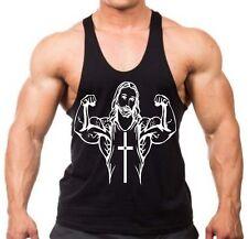 New Funny Buff Jesus Stringer Bodybuilding Vest Tank Top Muscle Gym shirt humor