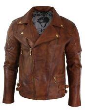 Mens Slim Fit Cross Zip Retro Vintage Tan Brown Biker Rock Real Leather Jacket