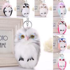 Soft Handbag Car Keychain Owl Pendant Keyrings Key Charm Pompom Fluffy