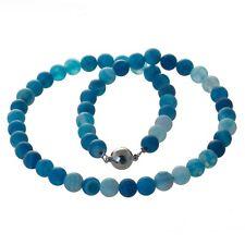 Kette Perlenkette türkis Edelstein Perlen Achat matt 8 mm Edelstahl Mangnetver.