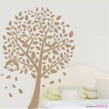 Sticker mural arbre pour oiseaux - feuilles Tronc muraux