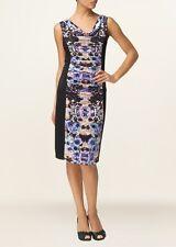 Nuevo Phase Eight Cristal Ilusion Acanalada Negro Multi Floral Vestido Talla Reino Unido 12 & 18