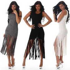 Kleid Abend Damen Mode Party Freizeit Sommer Knielang dress XS S M L 34 36 38 40