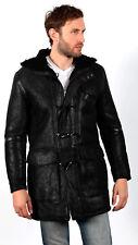 Men's Black 100% Sheepskin Leather Hooded Duffle Coat