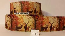 """Grosgrain Ribbon, Elk Deer Bucks Wildlife Fall Woods Forest Camo Antlers, 1.5"""""""