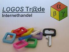10 Schlüsselkennringe / Schlüsselkennring / Schlüsselkappe (eckig), ca. 25X23mm