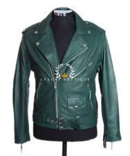 Brando Nappa Verde Hombre Moto Cruiser Auténtico Cuero De Oveja Chaqueta Moda