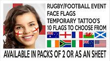 Rugby 6 naciones Copa Mundial de Fútbol Bandera Nacional temporal cara Tatuajes transferencia