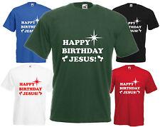 Happy Birthday Jesus Christmas T Shirt Funny Xmas Tee Gift Top Comedy Present