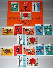 GHANA 1964 188-94 A-B Block 12 179-85a Olympics Tokyo Boxing Soccer Running MNH