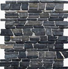 Mosaik Schwarz/Anthrazit Marmor versetzt Wand Sauna Küche| 40-0210_f | 10 Matten