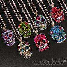Funky Mexicano Sugar Skull Collar Evil Zombie Día De Los Muertos Emo Gothic Kitsch