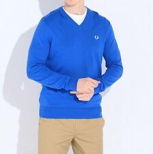 Clásico de Fred Perry V-Cuello Pullover Suéter de algodón para hombre Sudadera Azul K8260-969