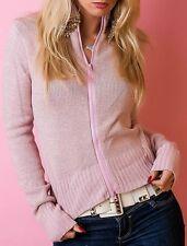 Damen Glamour Lurex Weste Strick Zip Jacke Cardigan 34/36/38 rosa gold Glitzer
