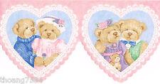 Pink Blue Vintage Teddy Bear Lace Heart Baby Nursery Laser Cut Wall paper Border