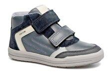 Geox Boys J Arzach B Black Grey Leather High Top Sneaker