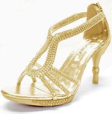 New women's shoes stilettos rhinestones back zipper wedding prom party Gold