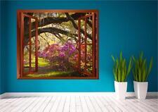 Garden Flowers Window Meadow Scene Print Wall Art Sticker Decal Mural Transfer