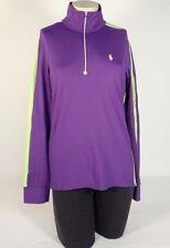 Ralph Lauren Golf Purple & Green 1/2 Zip Long Sleeve Shirt White Pony Womens NWT