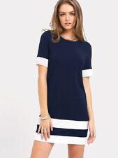 Womens Colour Block Stripe Bodycon Dress Ladies Short Sleeve Shift T shirt Dress