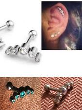 316L Steel Crystal Barbell Ear Cartilage Helix Tragus Stud Earring Bar Piercing