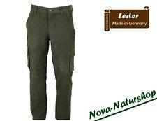 Jagd-Lederhose, Jagdhose, Forsthose, Nubuk-Leder Oliv, Cargo-Lederhose 504