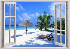Beach Palm Trees Water Sea Side Ocean 3D Effect Window Wall View Sticker 231