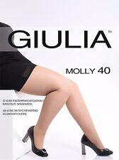 Giulia Molly 40 Denier Talla Grande CURVAS MEDIAS Más Corta XL, 2xl, 3xl, 4xl