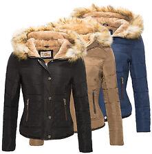 Veste Femme matelassée rembourré Manteau avec kunstpelzkapuze hiver D-84 NEUF