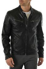 DE Herren Lederjacke Biker Men's Leather Jacket Coat Homme Veste En cuir R109c