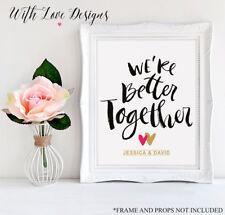 Mejor juntos para boda compromiso personalizado de impresión A5 A4 A3 Regalo Presente