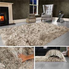Beige Mink Large SHAGGY Floor RUG Soft SPARKLE Shimmer Extra Thick 9cm Pile