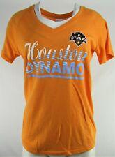 Houston Dynamo MLS adidas Women's Orange V-Neck Screen Print T-Shirt