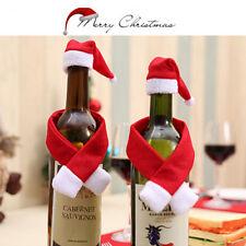 2/10X Set Noël Santa Bouteille De Vin Sac De La Table De Réception Dé FE