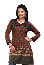 UK STOCK - Women Fashion Indian Short Kurti Tunic Kurta Top Shirt Dress ECCO08